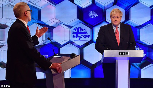Jeremy Corbyn and Mr Johnson taking part in their final TV debate of the 2019 general election campaign, in which the Labour leader brandished a copy of the secret Treasury analysis