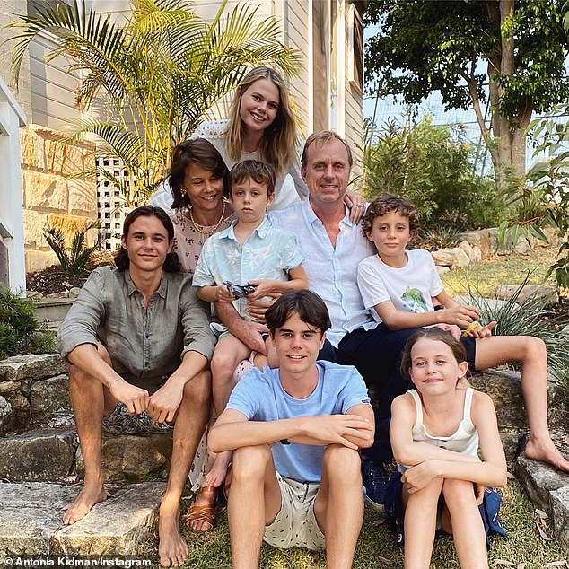 Motherhood: Antonia is mother to six children - four with her first husband, the late Angus Hawley, and two with current husband Craig Marran (centre right)