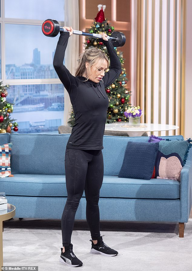 Hard at it: Chloe, whose parents are Richard and Judy Madeley, revealed that she did not like exercise when she was younger yet soon 'fell in love' with working out