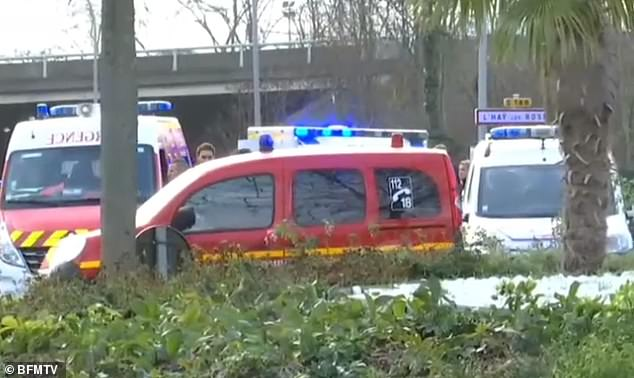 Four people were stabbed in the vicious attack in the Parisian suburbs, one remains in intensive care