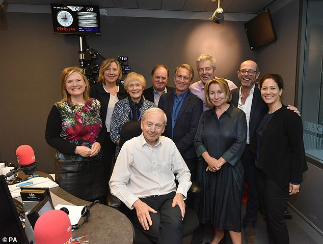 Humphrys poses for a photograph with the other presenters in the studio at New Broadcasting House presenting his final show on the Today programme on September 19. Ministers have been denied being interviewed on the show due to the bias row and concern about its trivial approach to interviews