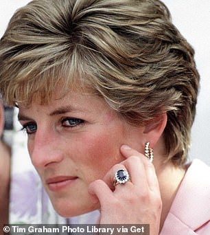 Princess Diana wearing her engagement ring with a 12-carat oval blue Ceylon sapphire