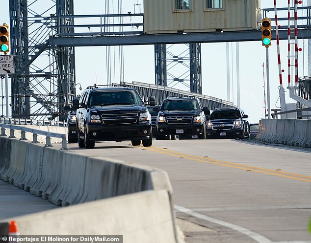 President Trump's motorcade crosses the bridge that connects Palm Beach to West Palm Beach Saturday morning