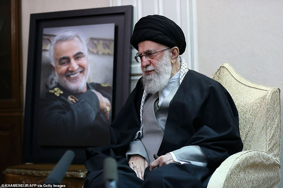 Iran's Supreme Leader Ayatollah Seyed Ali Khamene visits the family of slain general Qasem Soleimani on Friday
