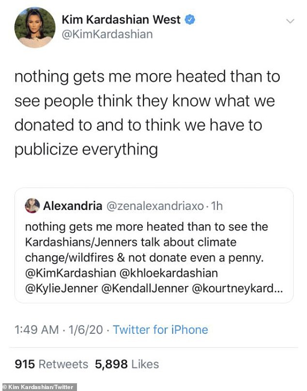 Not having it: Kim Kardashian hit out at a hater on Twitter on Sunday evening after they accused her and her family of not donating to the Australian fires