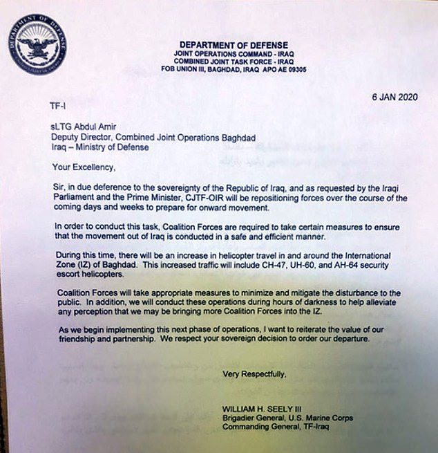 The Pentagon hasn't confirmed the authenticity of this letter, informing an Iraqi military leader the the U.S. and other coalition forces are pulling up stakes; but Iraqi officers said it's genuine