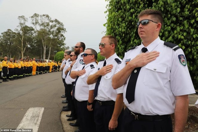 Mr O'Dwyer, 36, was remembered as a 'hero' by Prime Minister Scott Morrison and RFS commissioner Shane Fitzsimmons (Pictured are RFS volunteers and members at the funeral service for Mr O'Dwyer on Tuesday)