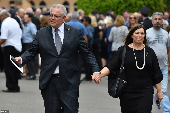 Prime Minister Scott Morrison and his wife Jenny (pictured) were in attendance at the service, as was the New South Wales Premier Gladys Berejiklian