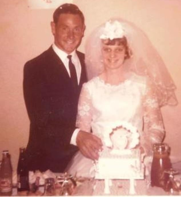 Geoffrey Adams pleaded not guilty in Adelaide Magistrates Court on Tuesday to the murder of his wife Colleen (pictured together), who went missing from their Maitland home 46 years ago