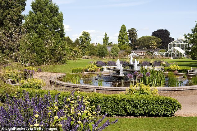 Pictured: A view over the Cambridge University Botanic Garden, where the record-breaking temperature was recorded in July 2019.
