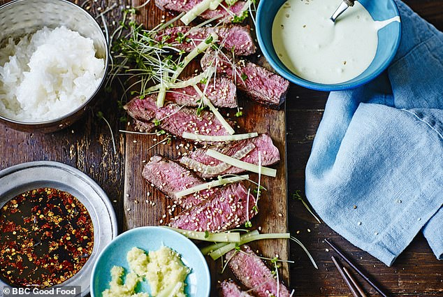From kitchen store Lakeland, with its cherry blossom baking moulds and sushi platters, to Ocado's new range of imported Japanese products, our fascination with this cuisine continues to grow. Pictured, Japanese steak