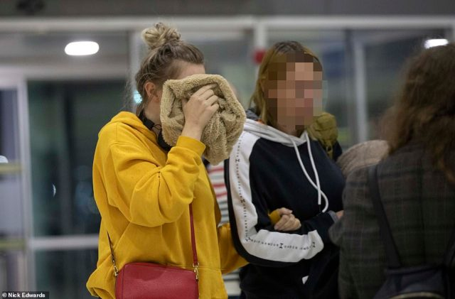 The girl and her mum had hoped to catch an earlier flight back to the UK but were unable to pack up their belongings in time to make the flight (the youngster is pictured preparing to fly out this evening)