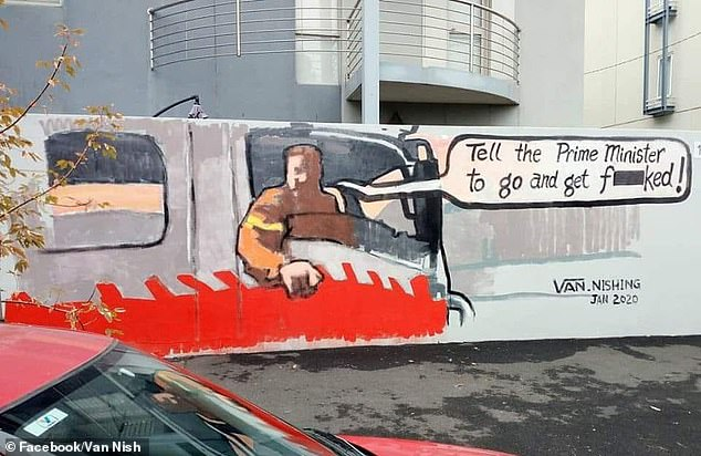 Street artist Van Thanh Rudd painted a mural of the firefighter who told Scott Morrison to 'get f**ked' on a wall on Lygon St, Melbourne on Monday