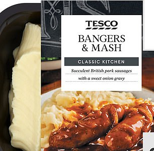 The NHS recommends adults and children over 11 should eat no more than 6g of salt in day - but many microwave meals have almost half that in a single serving including Tesco's Bangers and Mash, which contains 2.9g of salt