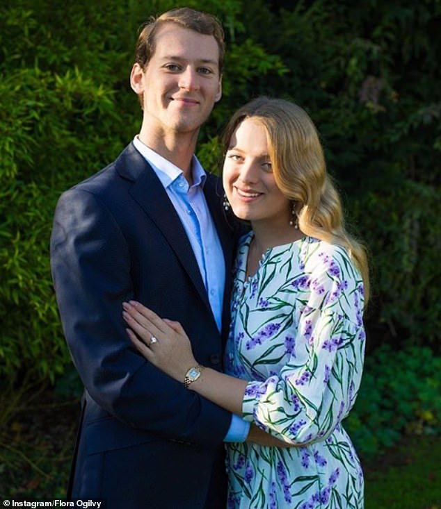 Flora Ogilvy, granddaughter of the Queen's cousin Princess Kent, is marrying her Swedish boyfriend, Timothy Vesterberg. The couple shared this photo to announce the engagement