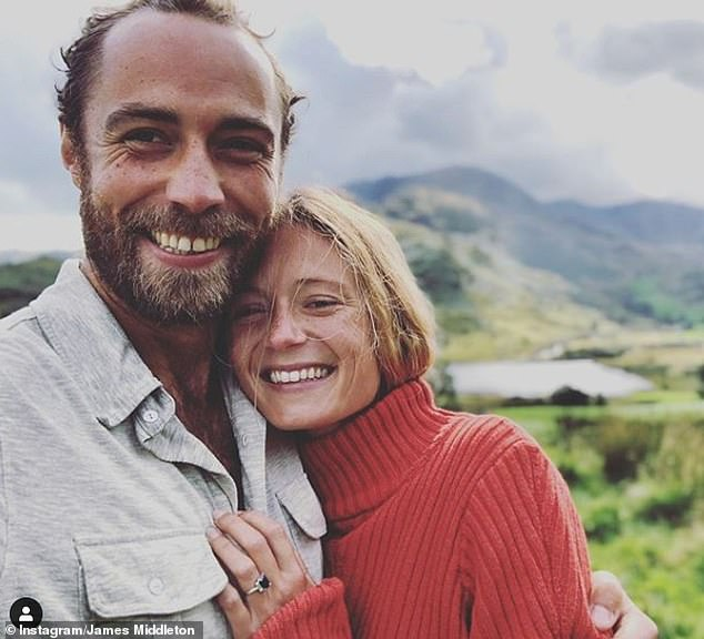 Proud James shared this photo to announce their engagement, with the simple caption: 'She said OUI!' The couple could marry near the Middleton family home or in France