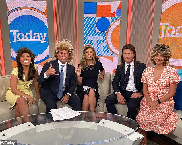 Rock on! The Today show hosts donned mullet wigs during a segment promoting a festival dedicated to the '80s hairstyle on Friday. Pictured (left to right): Tracy Vo, Karl Stefanovic, Allison Langdon, Alex Cullen and Brooke Boney