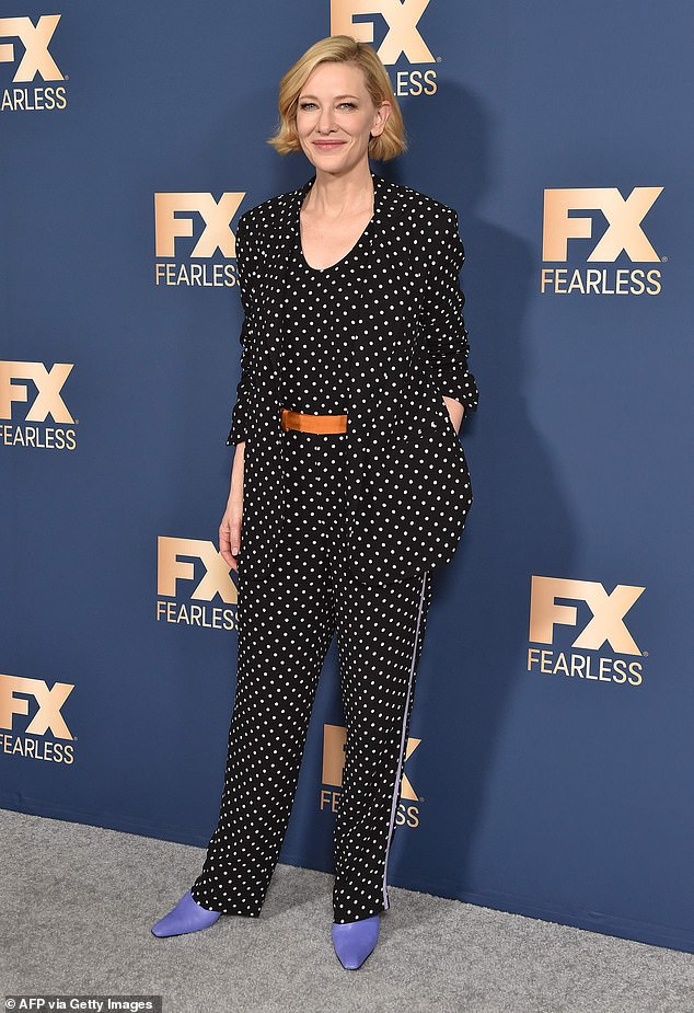 A-list: For the occasion, the Australian actress, 50, chose a polka dot jumpsuit with matching blazer. She added a burnt orange belt and a pair of lavender colored shoes
