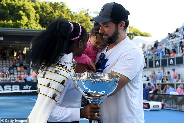Alexis Olympia and husband Alexis Ohanian congratulate Serena Williams after she won