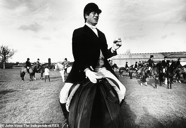 Sir Roger, a keen huntsmen, saddled up ready to ride with the Vale of the White Horse Hunt