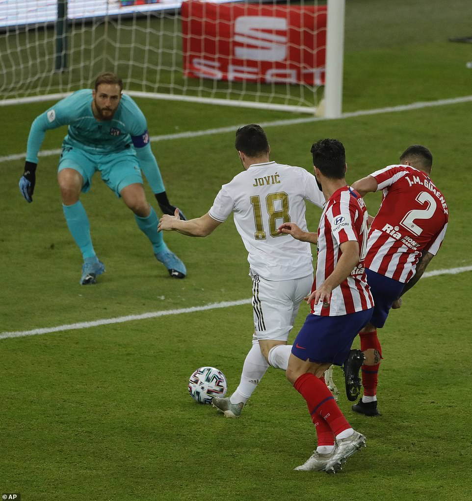 Real Madrid forward Luka Jovic approaches the goal but cannot find the back of the net during the second half
