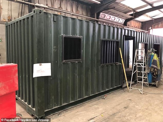 Mr Jessop is currently working on converting one container, pictured, which was transported from Bristol, and is relying on the goodwill of companies and the generosity of well-wishers