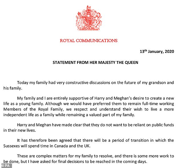 The Queen's statement in its entirety tonight after a day of talks to decide the future of Prince Harry and Meghan Markle