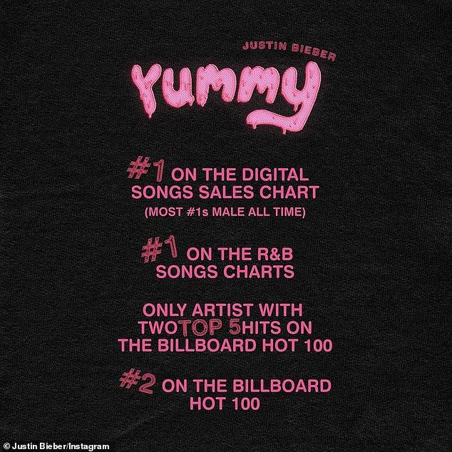 Celebrando: Bieber compartió esta lista curada de los éxitos de Yummy en su página de Instagram el lunes por la tarde