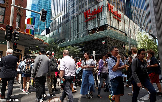 Many Americans were shocked to learn most Australian businesses don't have extended operating hours. Pictured: Shoppers outside Sydney's Westfield shopping centre