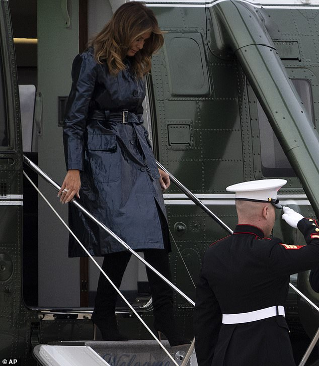 First stop:After a short helicopter ride, they arrived at Joint Base Andrews in Maryland