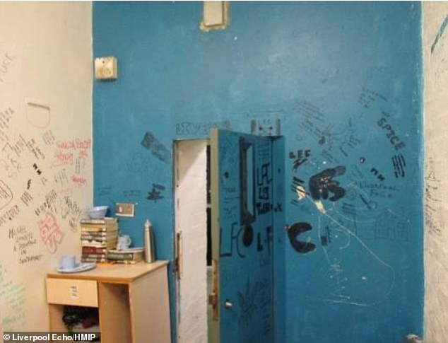 The images taken at an HMP Liverpool inspection in 2017 show graffiti and wet walls
