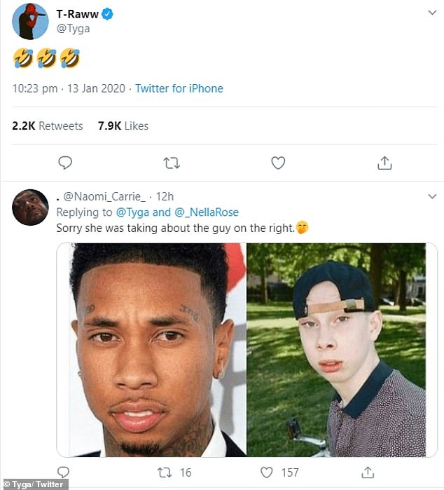 Funny: the 30-year-old rapper ridiculed the twin, 20, after being tagged in a fleet of tweets when Eve revealed the news during the Spill The Tea challenge