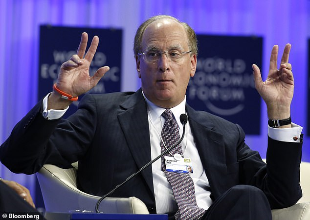 Laurence 'Larry' Fink, chief executive of BlackRock, during a panel session at the World Economic Forum in Davos