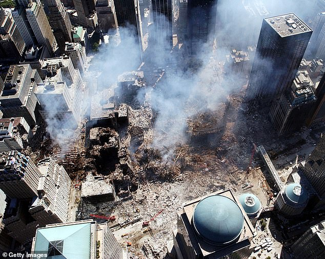 An aerial view shows only a small portion of the devastation caused by the towers collapsing