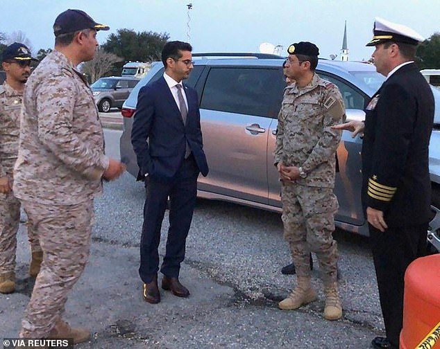 Saudi Arabia Defense Attache Major General Fawaz Al Fawaz, his Embassy staff and other officials arrive to meet with the Saudi students who remain restricted to the Naval Air Station Pensacola base by their Saudi commanding officer on December 9