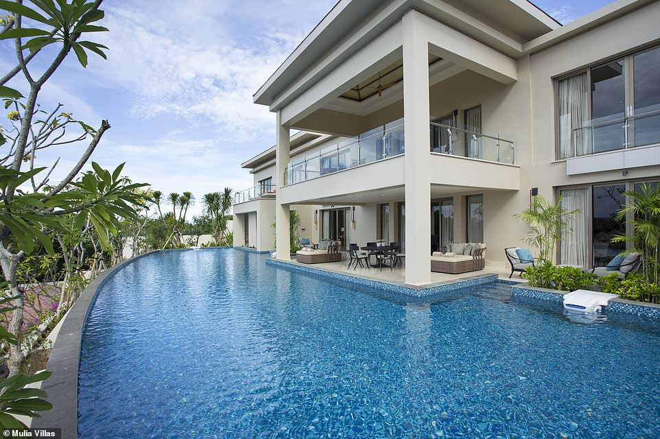The Mulia Mansion, pictured, at Mulia Villas in Bali tops the list as the biggest suite at 32,520 square feet. The two-storey property has six bedrooms, a private pool and a 24-hour butler service. Stays start from $19,800 (£15,000) per night
