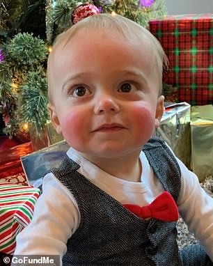 The twins's parents noticed Maxwell (pictured) asn't developing at the same pace as Riley and had him undergo genetic testing