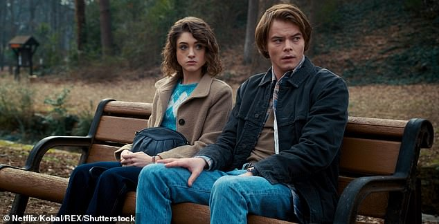 Co-stars: The pair met while filming Stranger Things, where they play Nancy Wheeler and Jonathan Byers (pictured in character during season two)