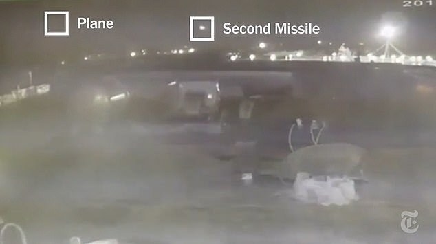 A second missile follows in the wake of the first to deliver another impact to the fuselage of theUkrainian International Airlines to Kiev