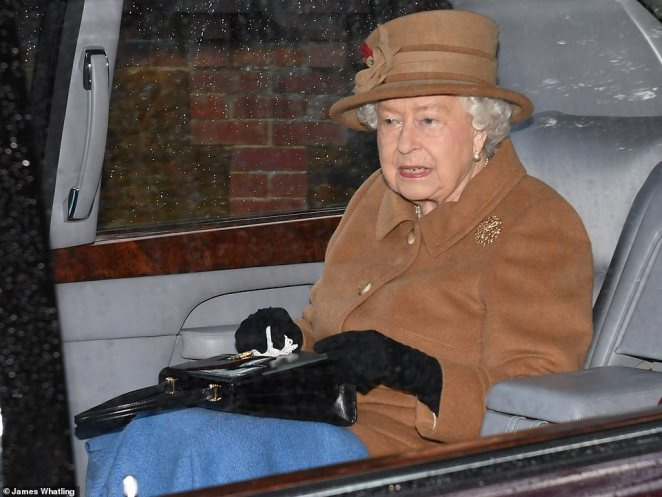 The Queen (pictured attending church at Sandringham on Sunday), made clear her deep disappointment at Harry and Meghan's decision to quit in a statement released yesterday