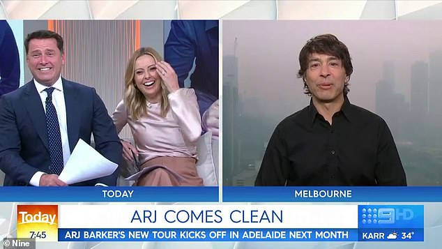 'My wife and I sat down and both agreed she was leaving me': Karl (left, with Allison Langdon) burst into fits of laughter when Arj reached his punchline