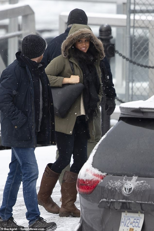 """Shock: Last week, the Sussexes announced their plans to 'step back as """"senior"""" members of the Royal Family' in a statement on their official Instagram account. Pictured Meghan on Tuesday in Canada"""