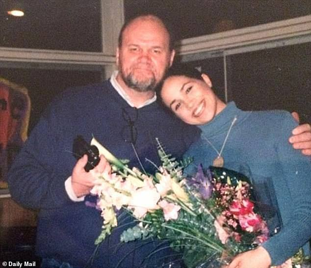 Meghan's father Thomas Markle supported Meghan by paying her private school fees and college tuition, lawyers for Associated Newspapers claimed (pictured: a young Meghan with her father Thomas)