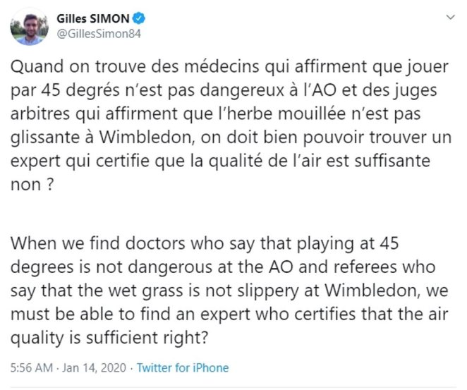 Gilles Simon questioned the experts that were making the decision on the air quality
