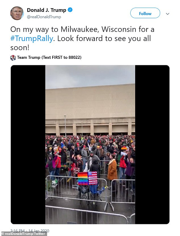 The president remained silent on Twitter all morning and afternoon, tweeting for the first time as he departed the White House to head to the rally in the rust-belt swing state
