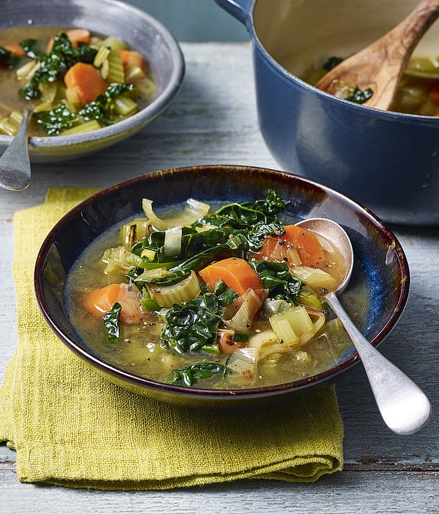 The hearty soup made with leeks, carrots, celery, butterbeans, barley, kale, bay leaves  and herbs takes 15 minutes to prepare and is only 165 calories