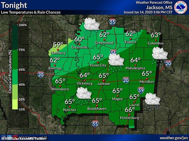 The weather map for the Jackson, Mississippi area on Tuesday pictured above