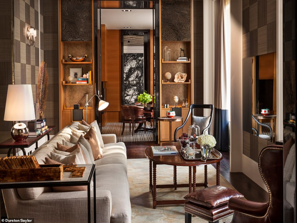 Inside the Manor House Suite at Rosewood London, which is the only hotel suite in the world to have its own postcode. The £11,800-a-night suite($15,400) is described as 'far more like a chic city apartment than a hotel suite'