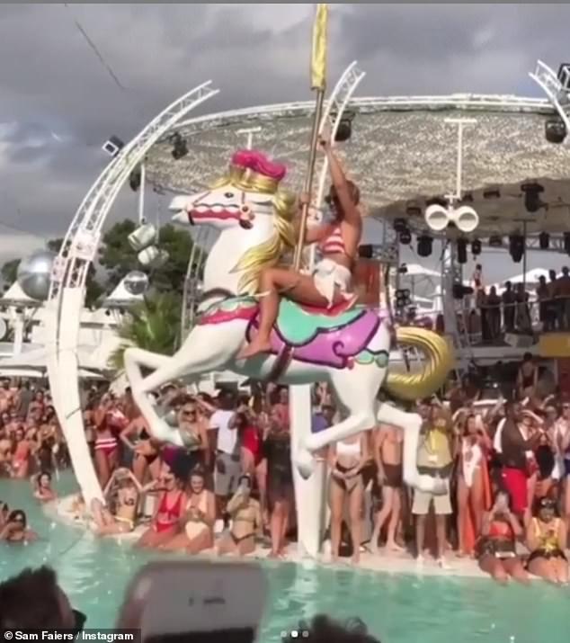 Riding a unicorn: Billie's raucous Ibiza hen do was also shown