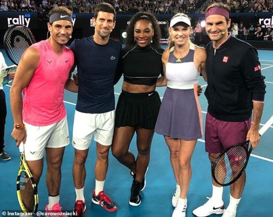 (L-R): Rafael Nadal, Novak Djokovic, Serena Williams, Caroline Wozniacki and Roger Federer at Wednesday's 'Rally for Relief' at the Rod Laver Arena in Melbourne